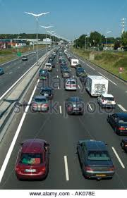 heavy traffic jam on a69 highway on an august departure