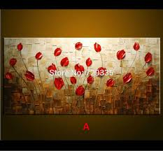 2017 hand made oil painting palette knife thick paint red flowers