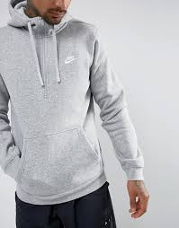 auction men clothes nike club swoosh half zip hoodie in grey