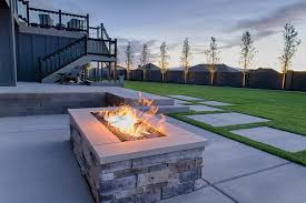 Contemporary Firepit Rectangular Outdoor Pit Gas Pits Contemporary Landscape