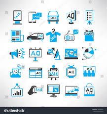 advertising icons set marketing promotion icons stock vector