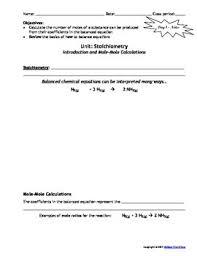 lesson plan stoichiometry mole mole calculations by msrazz