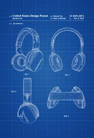 Home Theater Decor Headphone Patent Patent Print Wall Decor Headphone Poster