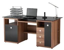 Cheap Computer Desks Uk Alphason Saratoga Walnut Black Glass Computer Desk Aw14004