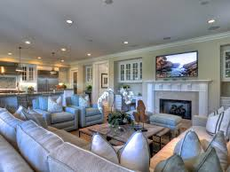 coastal decor is found in the details in this spacious family room