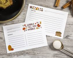 fall recipe cards etsy