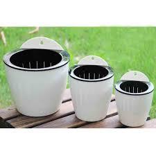 3 pack elegant white plastic self watering wall planter hanging