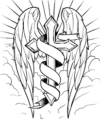 clipart radiant cross with wings in the clouds line