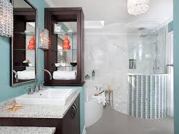 bathroom dark brown wood mirror white waterfall shower dark