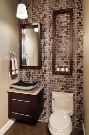 floating vanity with vessel sink decorative brown mosaic wall tiles with black vessel sink using