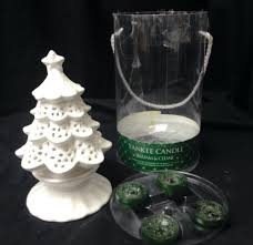 new yankee candle white christmas tree ceramic tea light holder