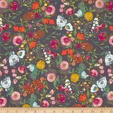 Flower Fabric Design Art Gallery Emmy Grace Budquette Nightfall Discount Designer