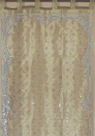 olive green gold sheer curtain panel hand embroidered beaded