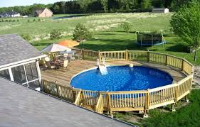 inground pool designs unique above ground pool designs with wood railing and table sets
