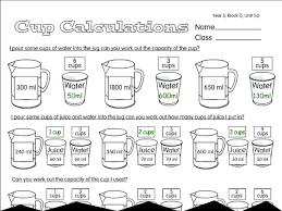 cup calculations a year 5 problem solving worksheet