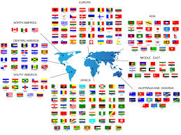 World Map Names Of Countries by Flags Of All Countries