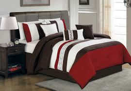 striped red brown u0026 ivory comforter set with white bed on brown