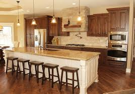 wood kitchen cabinets with white island kitchen rustic kitchen brown kitchen cabinets stained