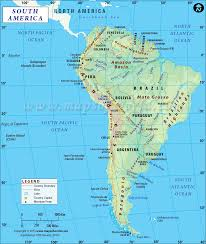 United States Map Mountains by South American Countries Countries In South America