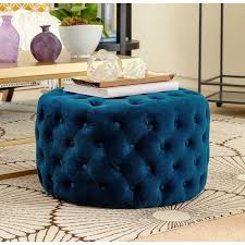 marcelle ottoman world market abson ella blue tufted round velvet ottoman free shipping with blue