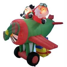 lighted christmas decorations indoor 6 airblown inflatable animated santa and snowman on airplane