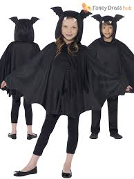 kids halloween black hooded bat spider cape cloak boys child fancy