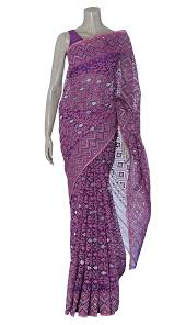 arong saree purple and pink half silk jamdani saree
