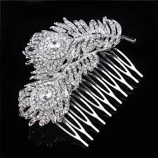 hair comb accessories peacock feather hair comb tiara drop rhinestone hair