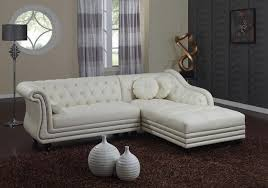 White Leather Tufted Sofa by Furniture Modern White Leather Chaise Sectional Sofa On White