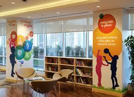 Pillar Designs For Home Interiors by Pillar Wraps In Circular Illustrative Design Brightens The Office
