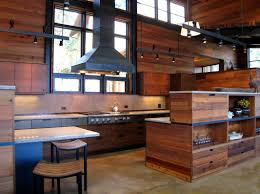 salvaged cedar wood panels the kitchen walls in this modern cabin fabulous of reclaimed wood kitchen cabinets cool modern kitchen design with reclaimed wood cabinetry and stainless steel exhaust hood with