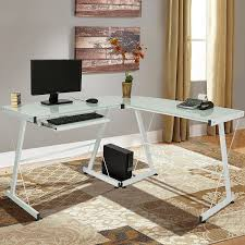 Computer Desks Amazon by Amazon Com Best Choice Products L Shape Computer Desk Pc Glass
