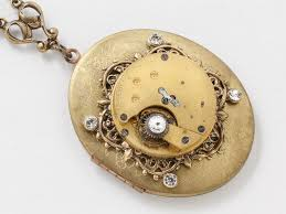 large locket necklace images Steampunk locket necklace gold pocket watch movement with jpg