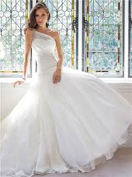 draped wedding dress gown one shoulder organza draped wedding dress beaded