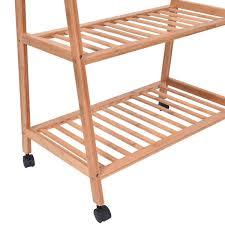 bamboo hanging rack 2 tiers 4 hooks storage shelves closet