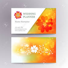wedding planner business blurred business card template with flower suitable for wedding