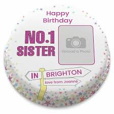 number 1 sister birthday cake upload a photo and message