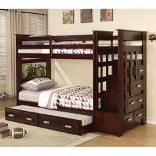 Bunk Bed With Trundle Sanblasferry - Wooden bunk bed with trundle