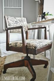 vintage wood office chair makeover with stain and reupholstered