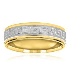mens gold wedding bands unique looking solid 14k two tone gold wedding band for men