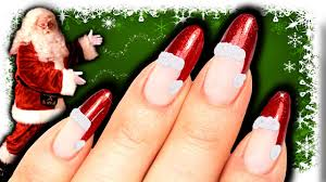 no tools santa hat nail art diy easy christmas nails red