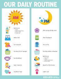 printable daily schedule printable daily routine chart kid to kid