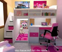 Mixing Work With Pleasure Loft Bedroom Cute Bunk Bed With Desk Underneath For Girls Perfect