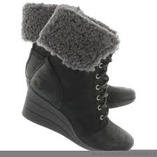 s ugg australia black zea boots ugg australia s booties zea black lace up wedge no 97003