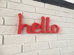wood sign word hello wood script home decor office shop bar