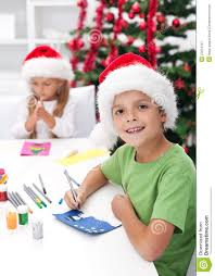 kids making christmas greeting cards royalty free stock
