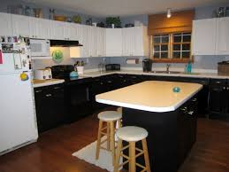 Painted Blue Kitchen Cabinets Painted Black And White Bi Color Kitchen Cabinets Satin Brass