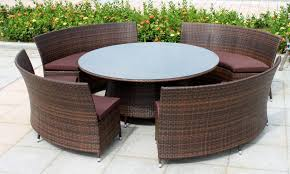 Wicker Table L Patio Furniture With Rounded Wicker Dining Table And Unique Curved