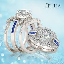 Jeulia Wedding Rings by 3pc Halo Round Cut Created White Sapphire Women U0027s Wedding Set 1 6