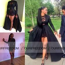 Black Homecoming Dresses With Sleeves Carnaval 2016 Two Piece Short Prom Dresses See Through Black